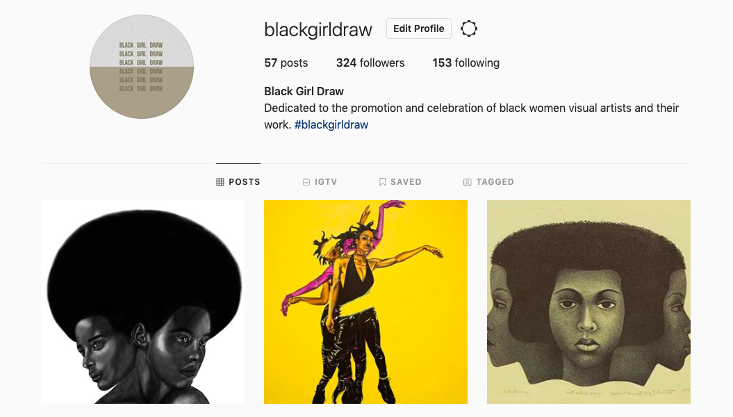 The works of Steffi Aluoch, Dawn Okoro and Elizabeth Catlett on Black Girl Draw, a 2017 research and archival project by Ojo Agi.