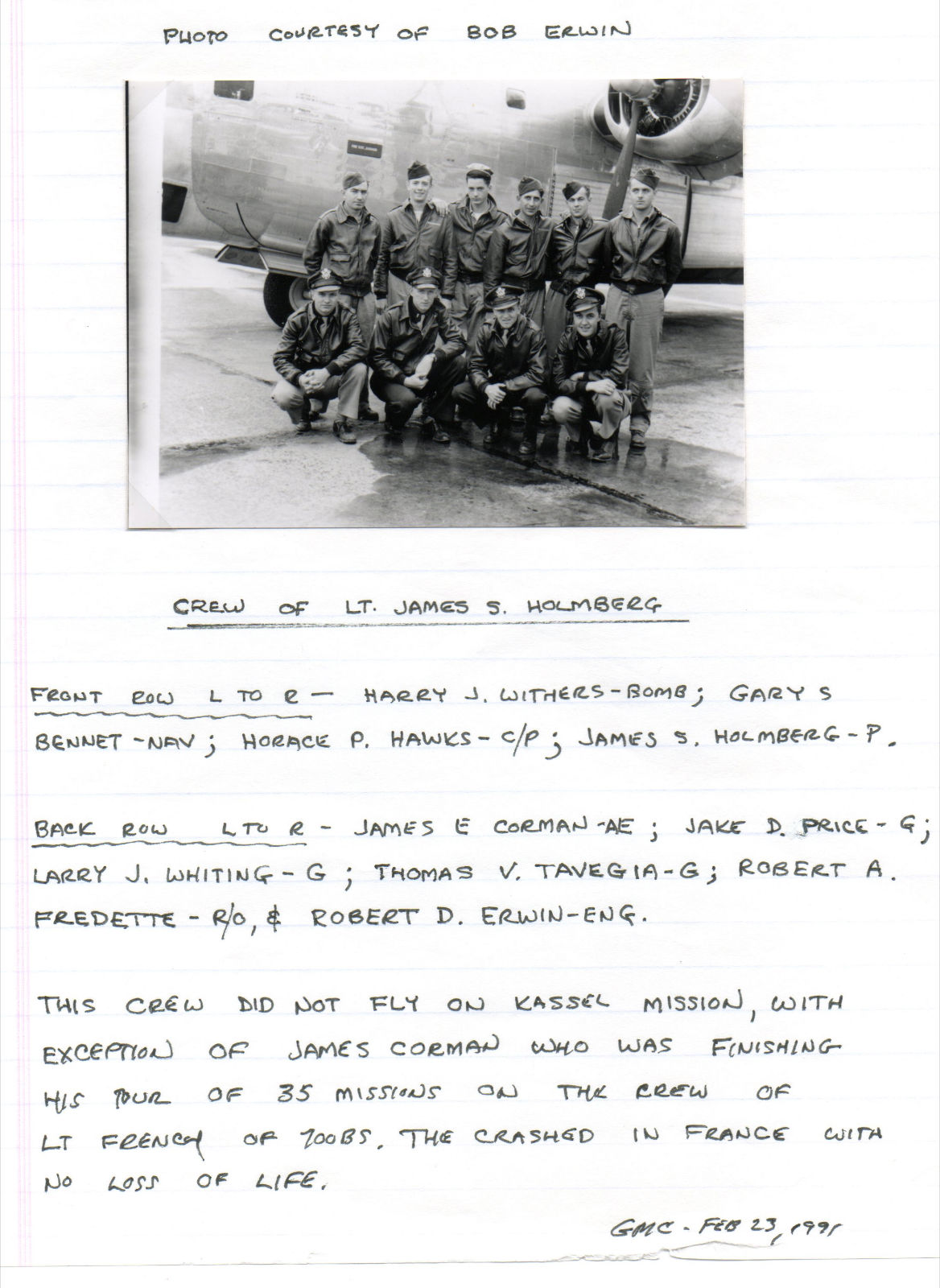 Holmberg Crew, James Corman's regular crew. Notes above are by Kassel Mission Historian Emeritus, the late Goerge Collar, 702nd Bombardier on the Schaen Crew.