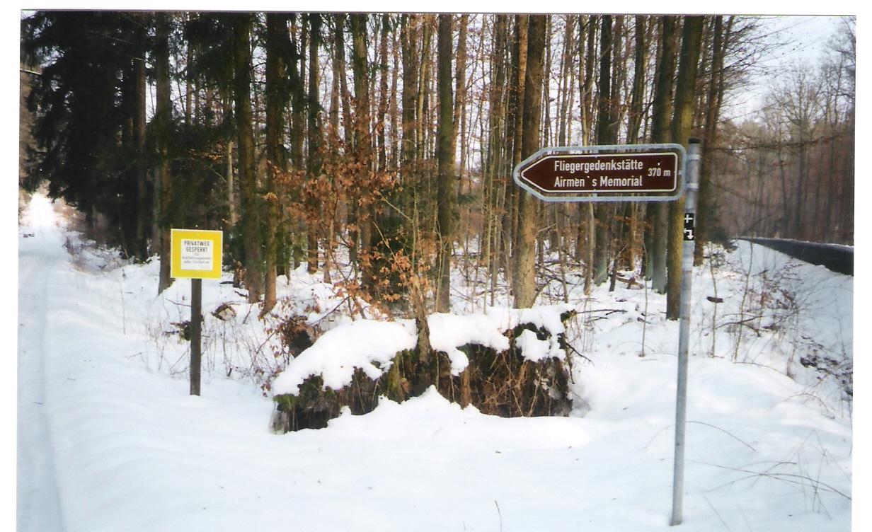 Memorial sign in winter