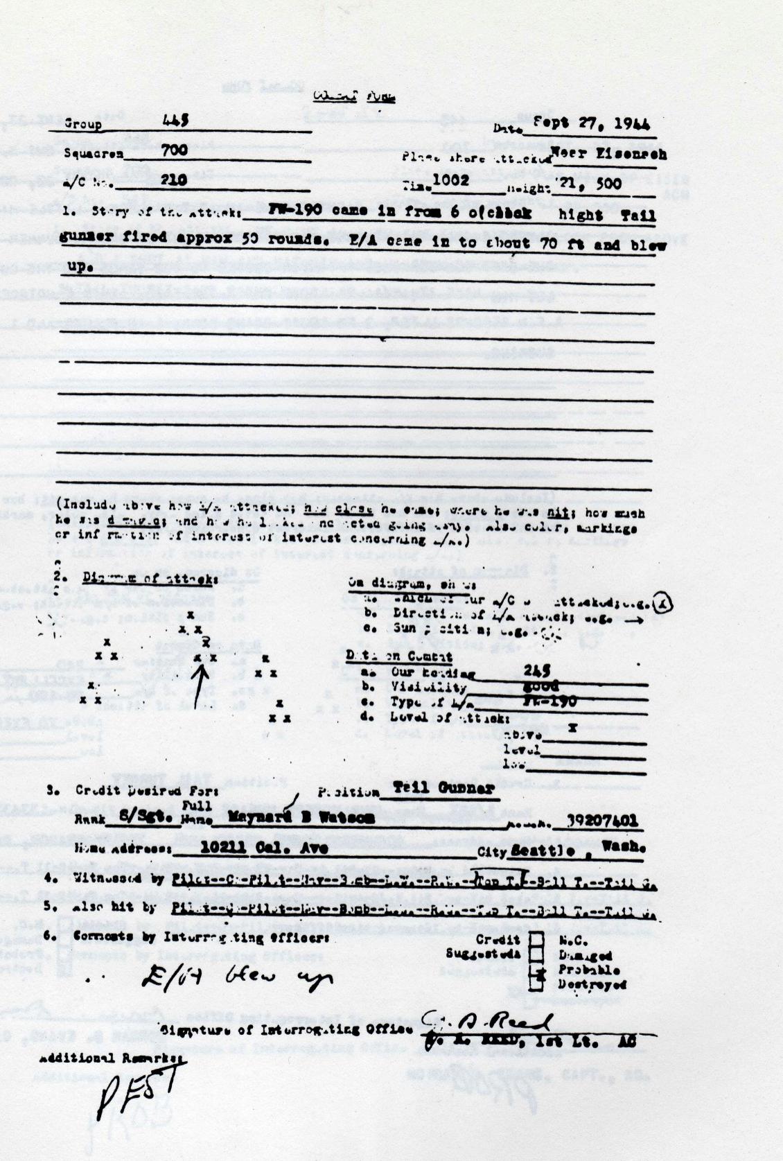 Maynard Watson Debriefing Combat Form