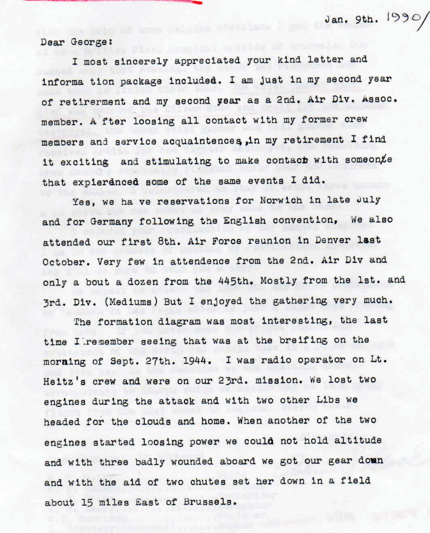 Fabian Mack account - letter to George Collar