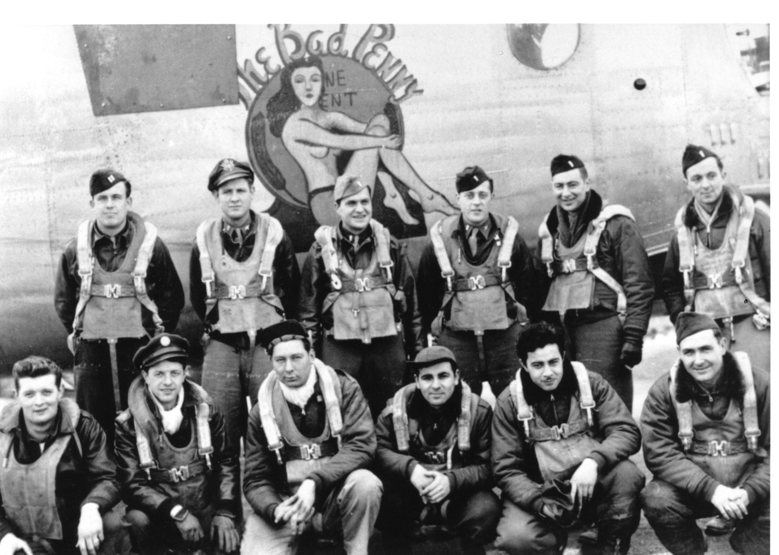 Front row, L to R: Bob Sims, radio operator; Joe Skomro, engineer; John Hubicz, tail gunner; Haig Mesrobian, ball gunner; Santos Cabral, waist gunner; John Shinske, waist gunner. Back row, L to R: Web Uebelhoer, pilot; Billy Hart, copilot; Art Kugel, bombardier; Jim Fleur, radar navigator; Mervin Scheu, dead reckoning navigator; Don Whitefield, navigator.
