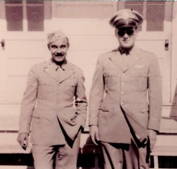 Left to right: John A. Friese, bombardier; Maynard L. Jones, navigator