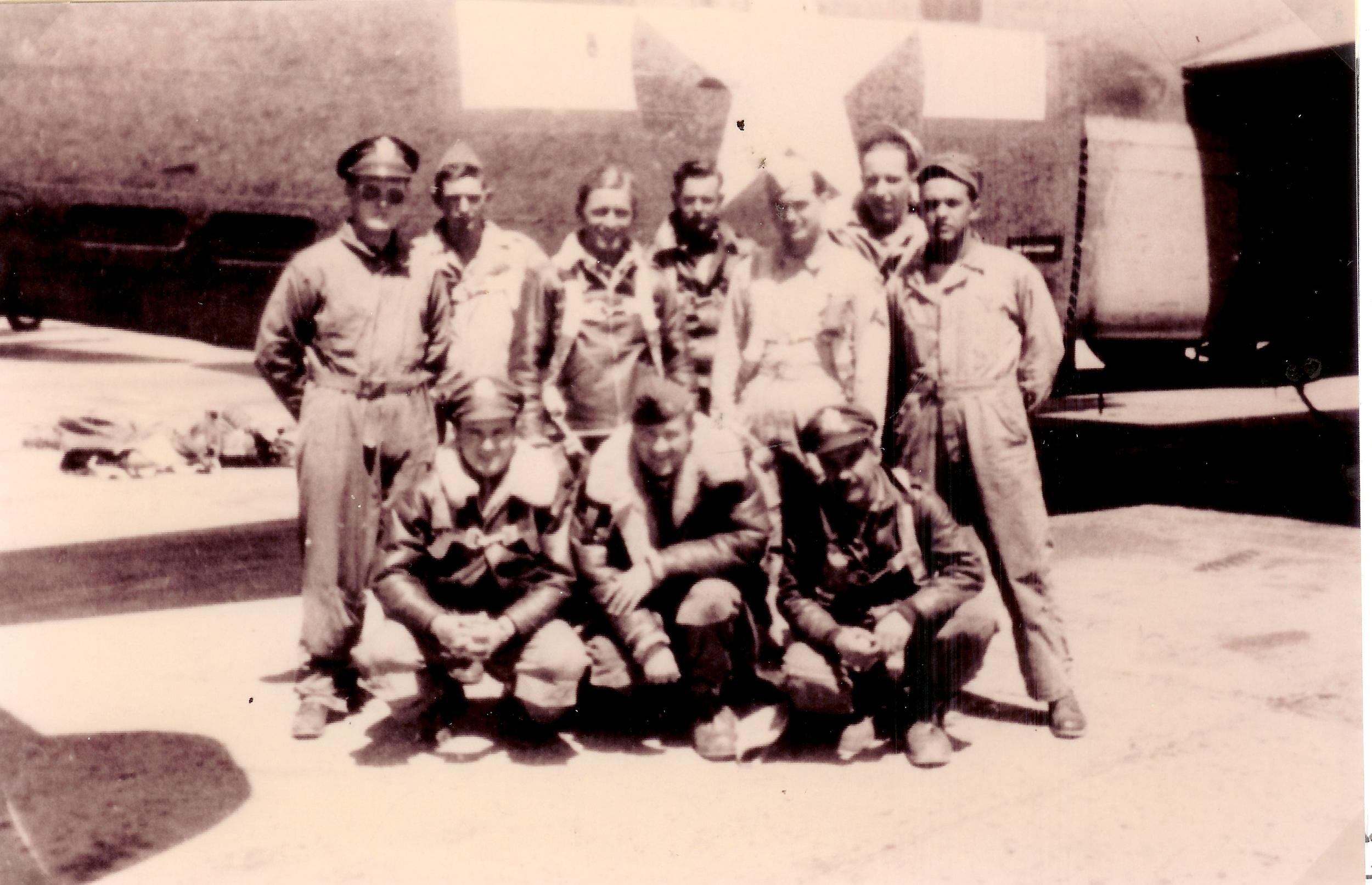 Back row, left to right: Edward Hautman--Pilot; Thomas Land--Top turret gunner; Stidman--Not a member of the crew in Germany; Orvel Howe--Waist Gunner; John Tarbert--Waist gunner; Dale Maupin--Nose gunner; Gordon Waldron--Tail gunner. Front row, left to right: Carroll Snidow--Co-pilot; Maynard Jones--Navigator; John Friese--Bombardier. Not shown: Harold Giesler--Radio operator who appears to have replaced Stidman.