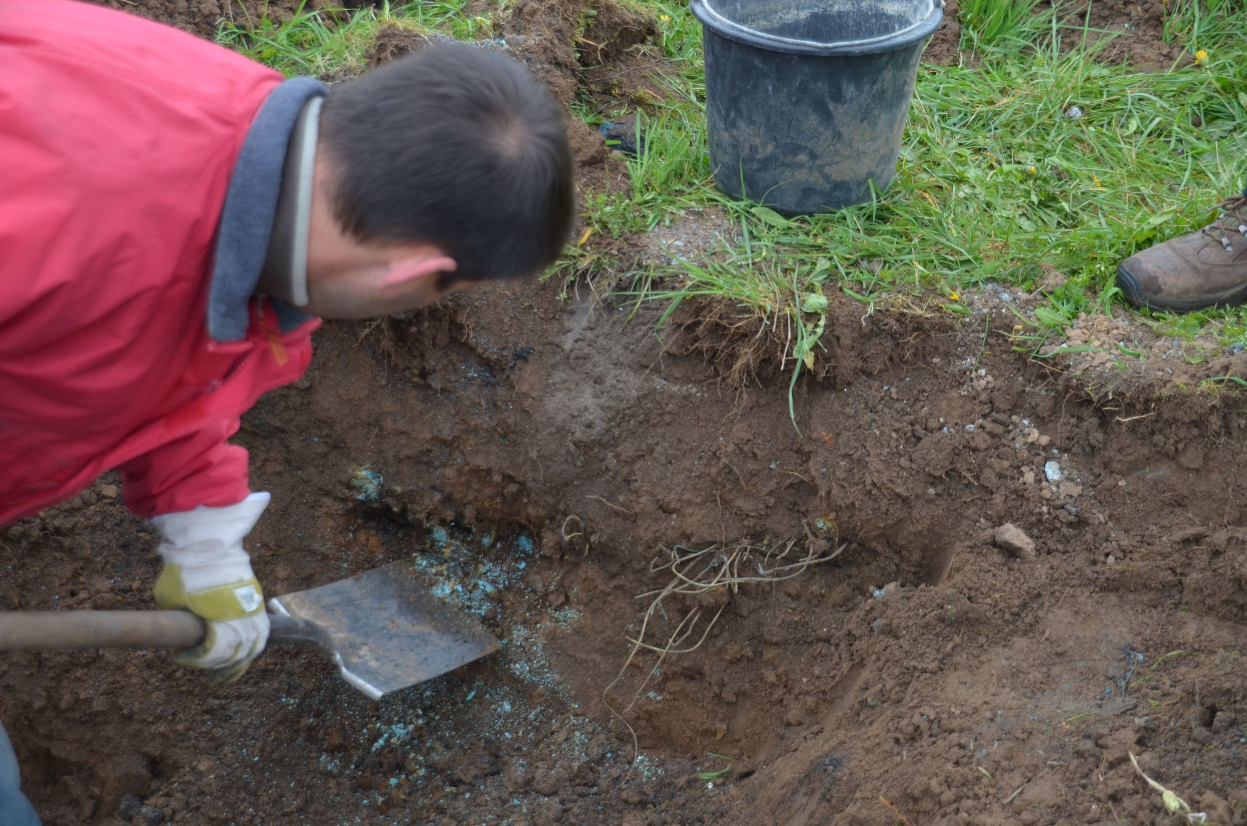 Bolin dig with spade