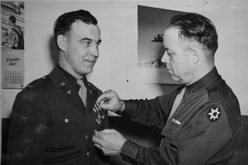 1st Lt. Friese being awarded the Distinguished Flying Cross