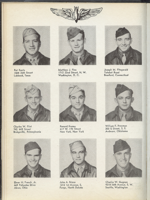 John A. Friese as aviation cadet, pictured middle of bottom row.