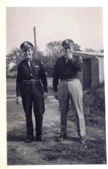 Left to right: Carroll Snidow, Co-pilot; Maynard L. Jones, Navigator