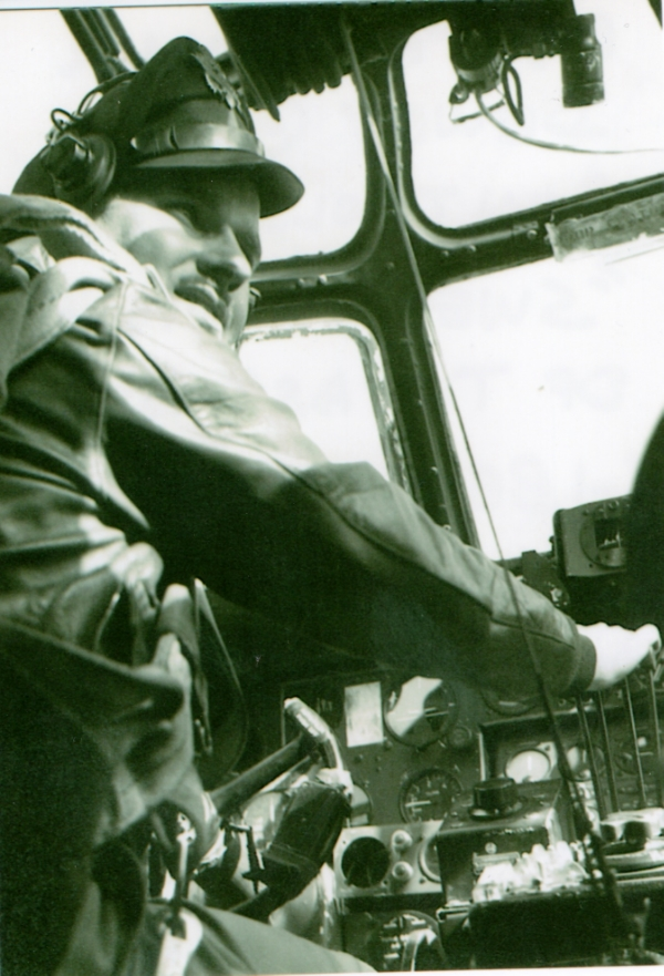Captain William R. Dewey, Jr. at the controls of the Sweetest Rose of Texas before Operation Varsity, March 25, 1945. Photo by bombardier Lt. Bill Mitchell.