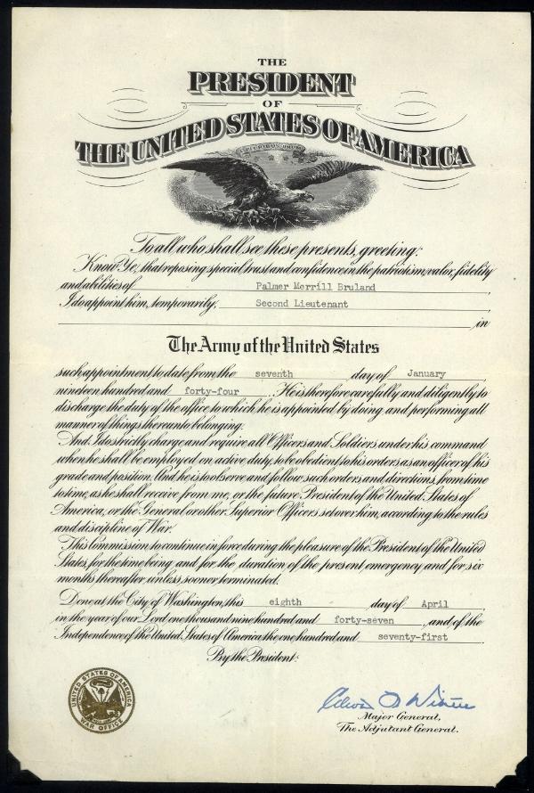 Bruland Promotion to 2nd Lt Certificate
