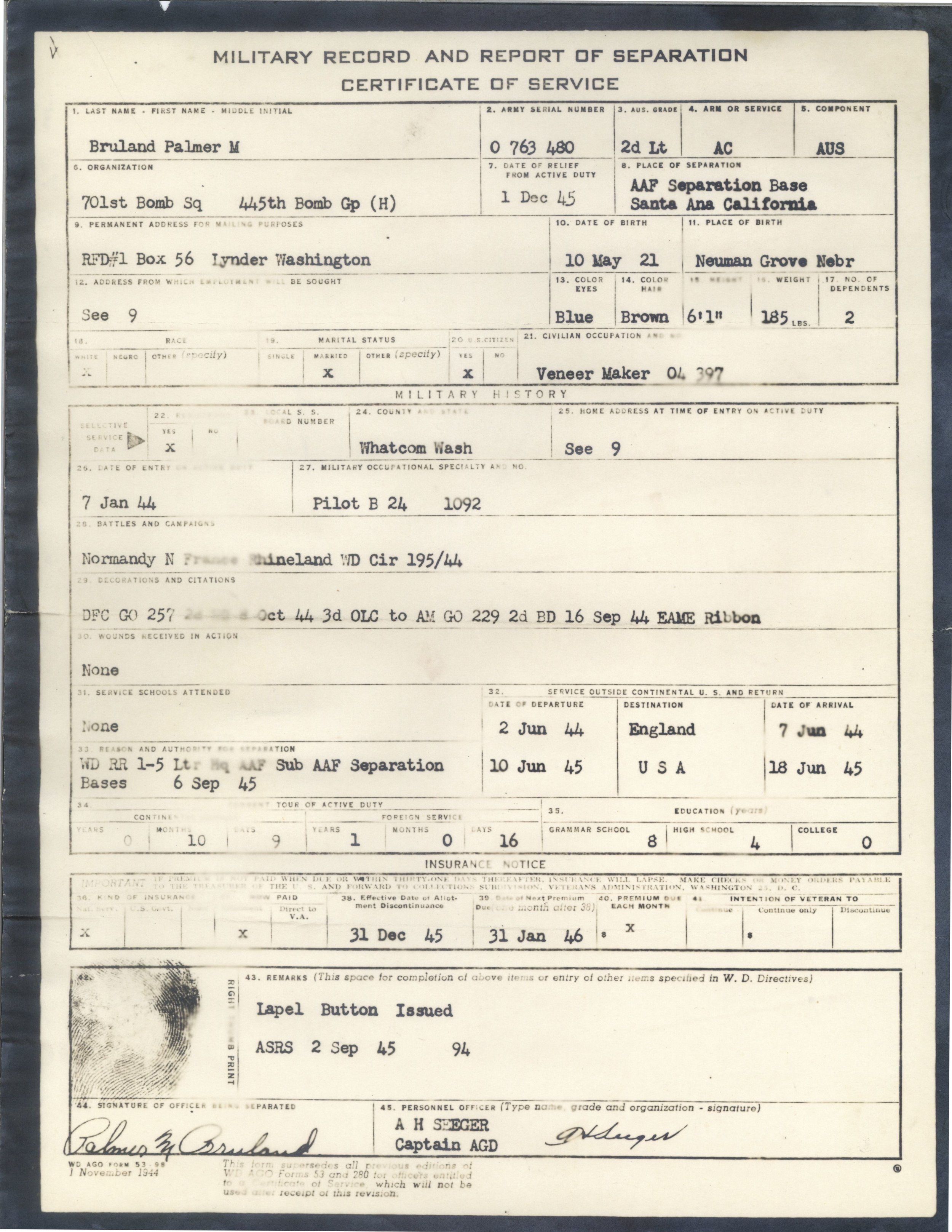 Bruland discharge papers