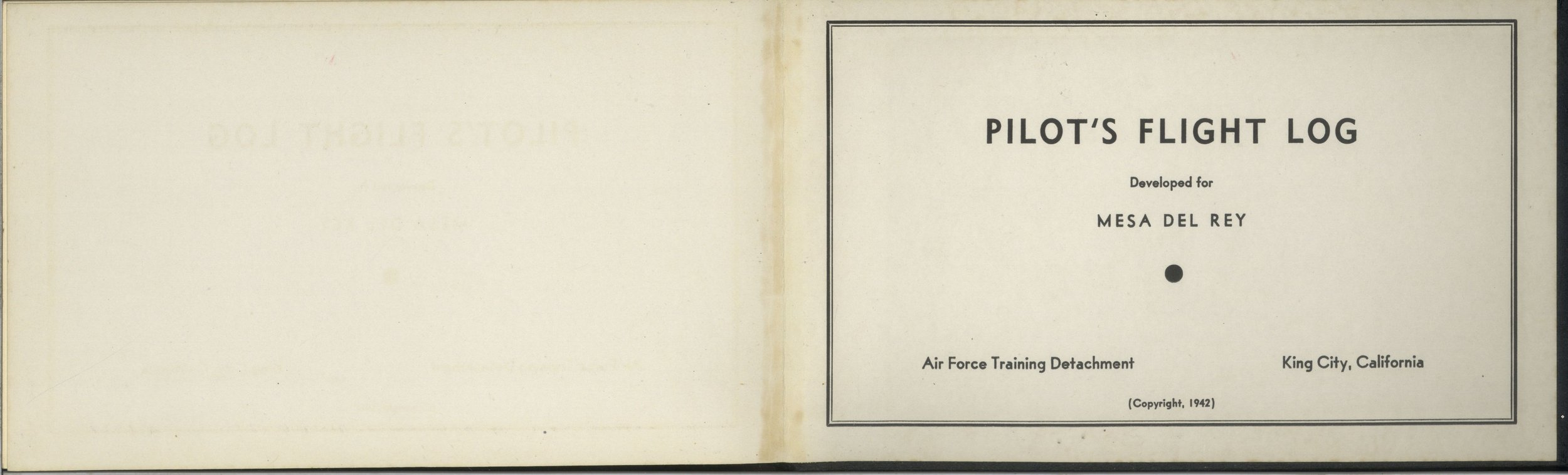 Bruland pilot's log opening page