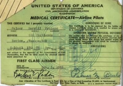 Airline pilot's medical certificate issued Nov. 5, 1946