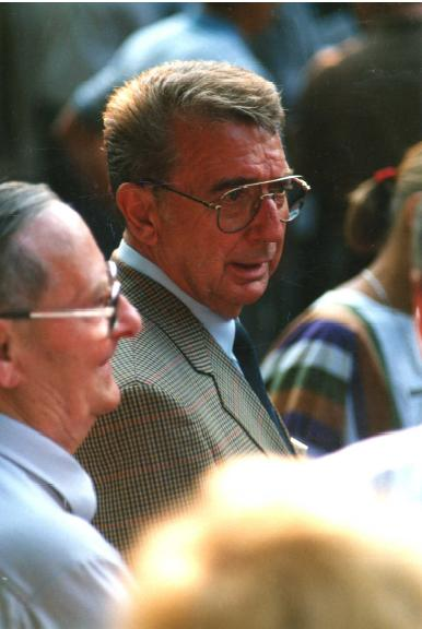 Walter Hassenpflug at the 1 August 1990 Dedication of the German and American Airmen's (Kassel Mission) Memorial. Photo courtesy Walter Hassenpflug.