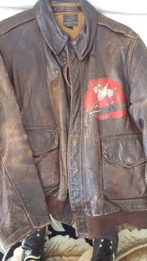 This A-2 jacket originally belonged to T/Sgt. Calvin Hess, engineer and top turret gunner on the Bruce Crew. Photo courtesy Col. Warren Parker
