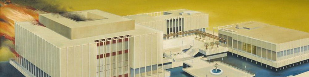 Ed Ruscha,  The Los Angeles County Museum on Fire , 1968 (detail)