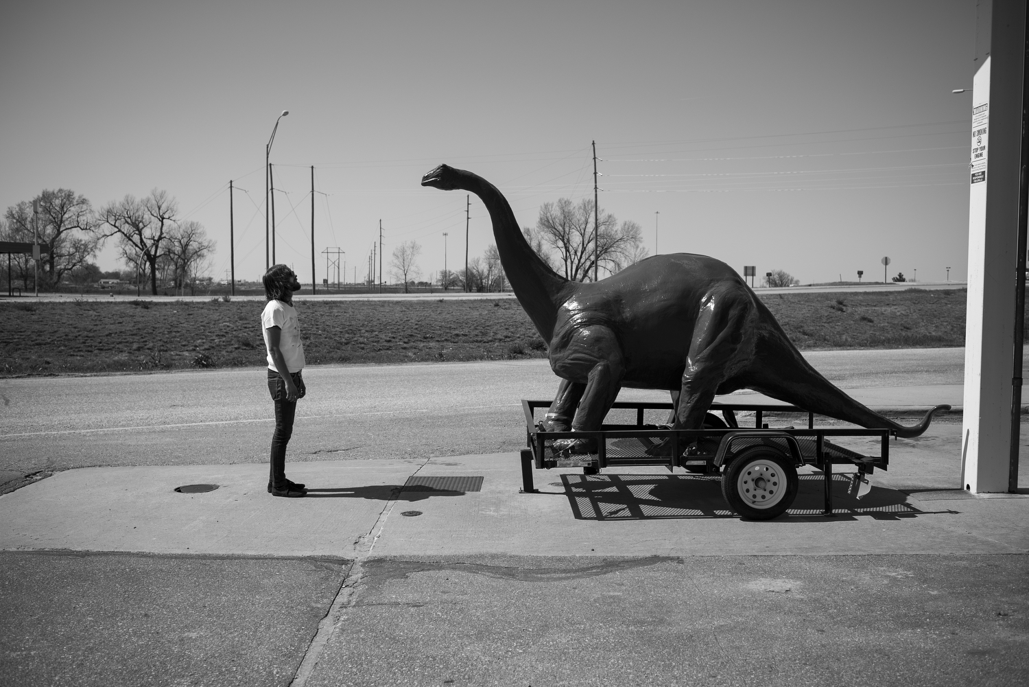 2:45PM— One of many gas stations visited on tour. The only dinosaur visited.