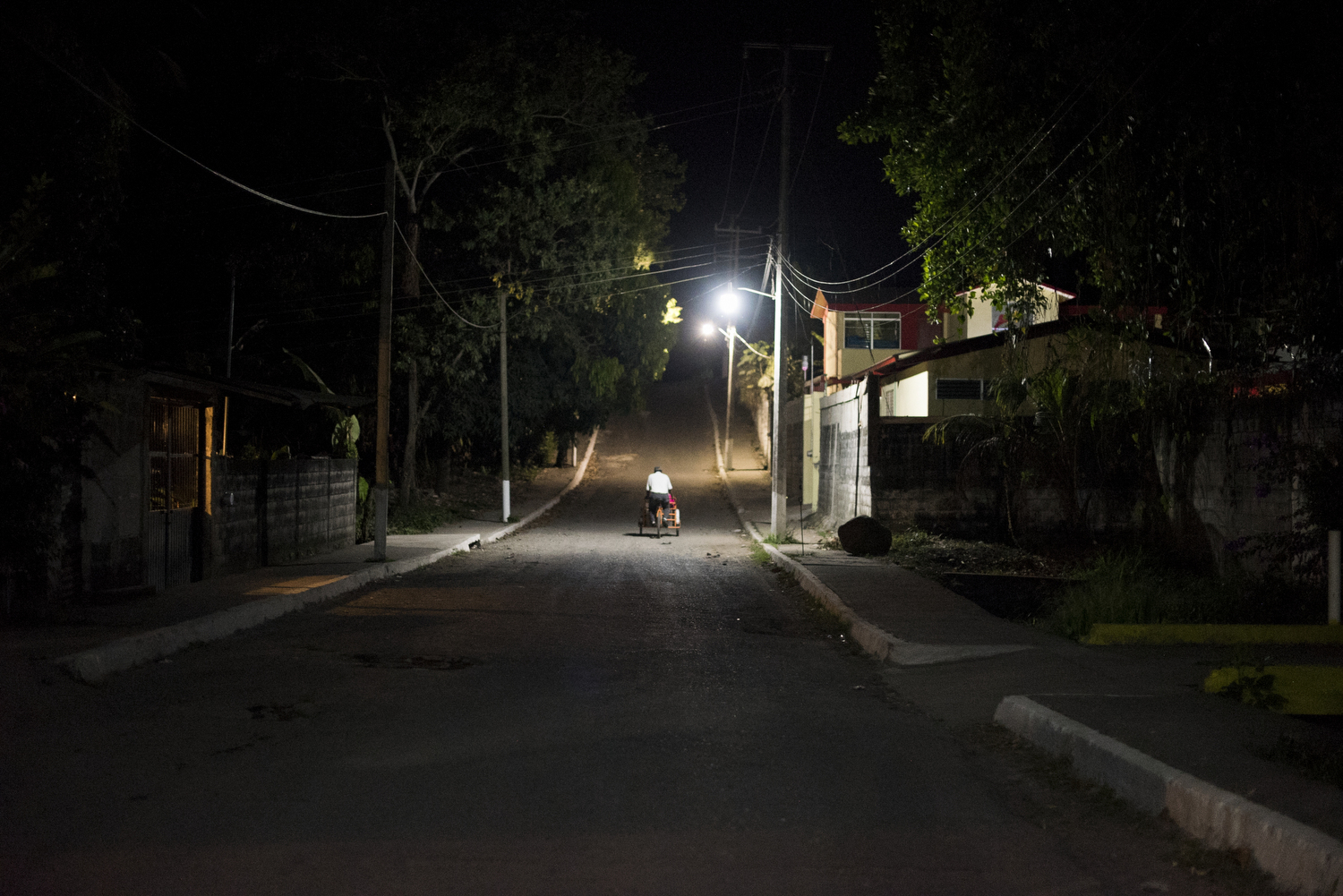 The streets of Tapachula late at night near the Belén Shelter.