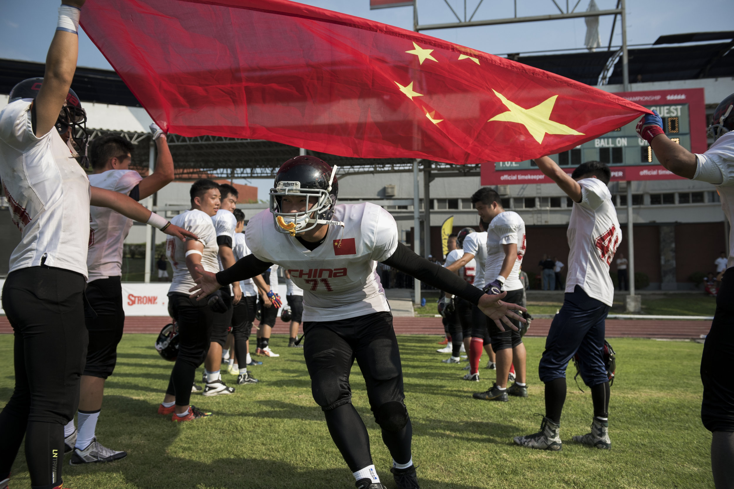 Chinese offensive lineman Sai Quan takes the field for the team's final game of the 2016 American Football World University Championship against Japan on June 10, 2016 in Monterrey, Mexico. American football has only been played in China for a few years and despite being outsized and playing against more experienced opponents, the Chinese players were lauded for their tenacity and fearlessness.