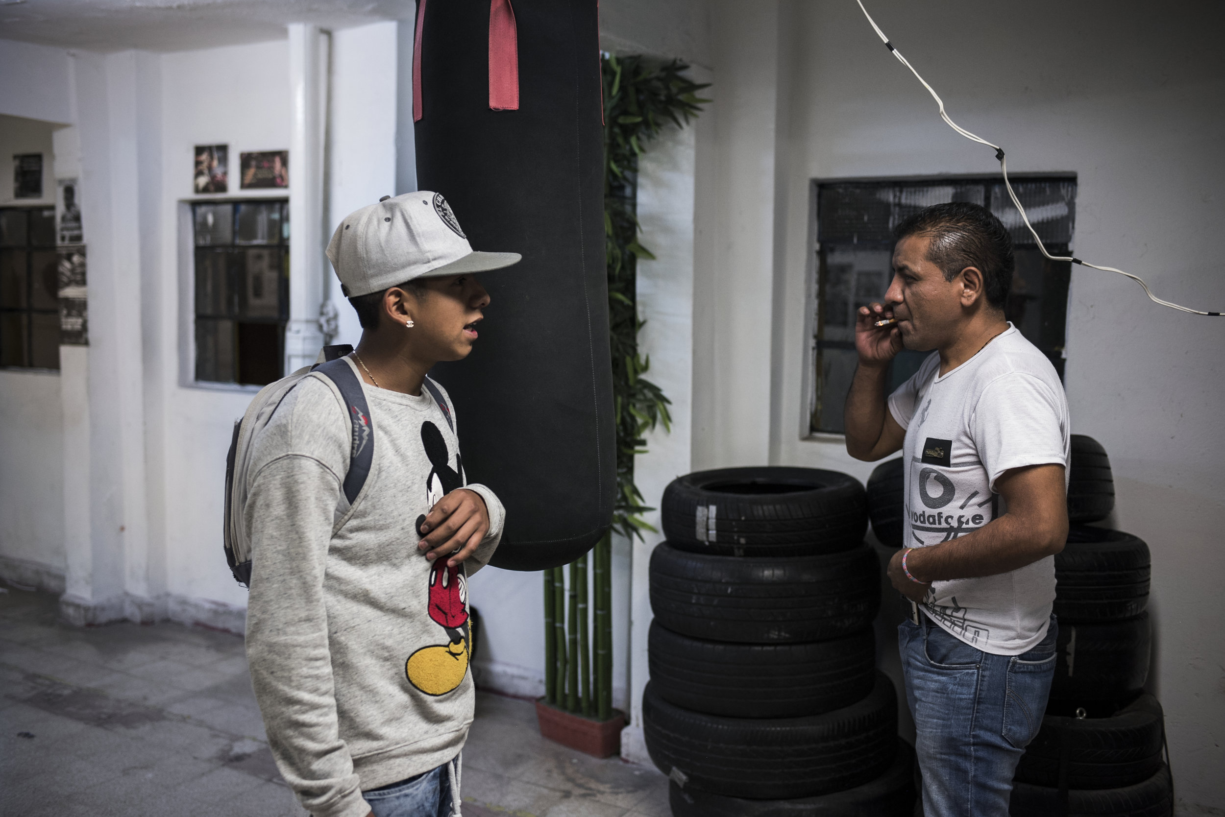 """Pancho's coach Jorge had to cancel a fight after Pancho missed several training sessions but Angeles is dedicated.""""The majority of the kids that I have here have the same problems -- the streets and addiction,"""" says Angeles. """"I tell them to come. I'm always eager to get them off the streets."""""""