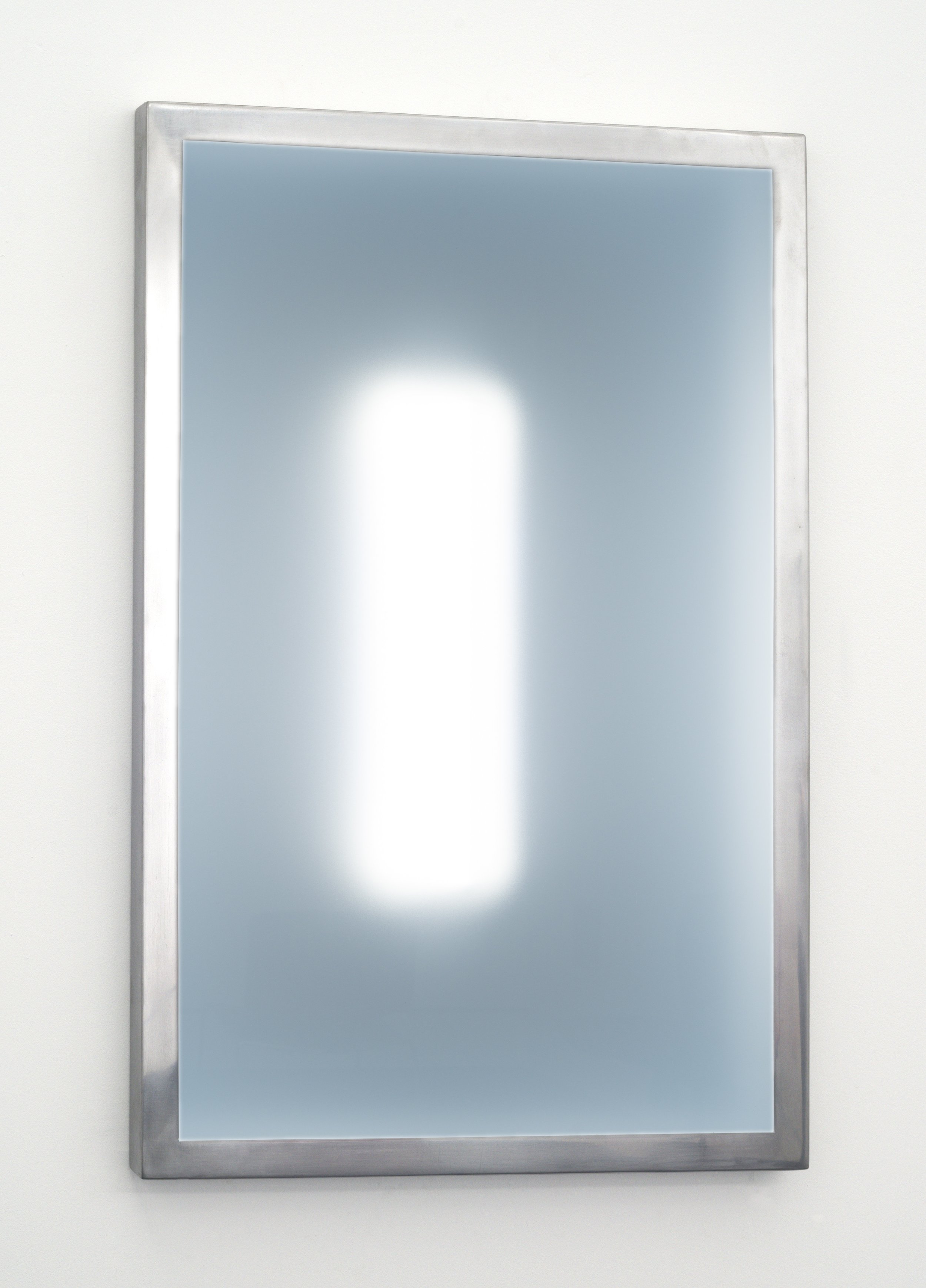 """(24""""H x 18""""L x 1.5""""W, view from front)     This three dimensional wall piece, constructed out of steel, acrylic, and LEDs captures the viewer's attention by creating a calm, meditative, and introspective atmosphere. The clarity of the illuminated elusive interior shape shifts depending on the viewer's physical relationship to the piece."""