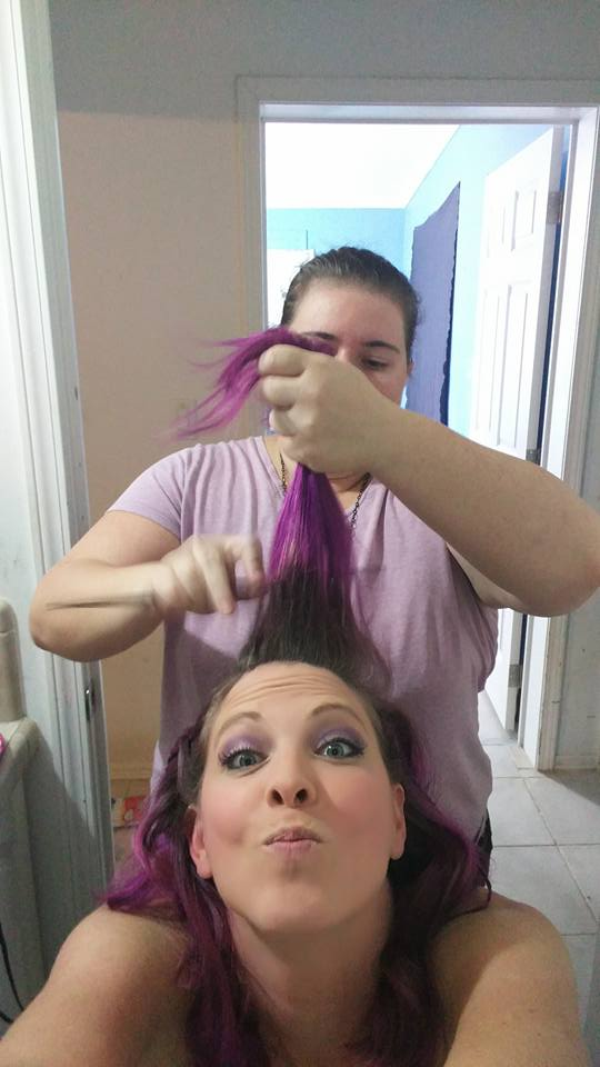 Lotus doing hair before a bridal session.