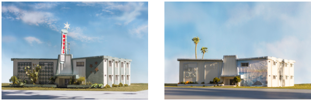 LACMA ACQUISITION  It is with great pleasure that I announce that two works from the Stardust series 517 North Vine Street, Hollywood...then 2015, and 517 North Vine Street, Hollywood...now have been acquired by the Los Angeles County Museum of Art (LACMA).  The Stardust series features 'Stardust' motels from different parts of the world and the two acquired existed in Hollywood, Los Angeles. The works exist in both '… then' and '… now' versions. They were found through old postcards and then google maps to explore how the buildings have changed overtime. This also demonstrates how digital technologies like Google maps might alter urban landscapes all over the world as we don't rely on signage to guide us to our destination. They also owe particular debt to Los Angeles artists of the conceptual movement of the 1960's and 1970s in particular Ed Ruscha and his deadpan conceptual approach to his photography books such as 'Some Los Angeles Apartments' photographed with a car camera construction similar to google maps.