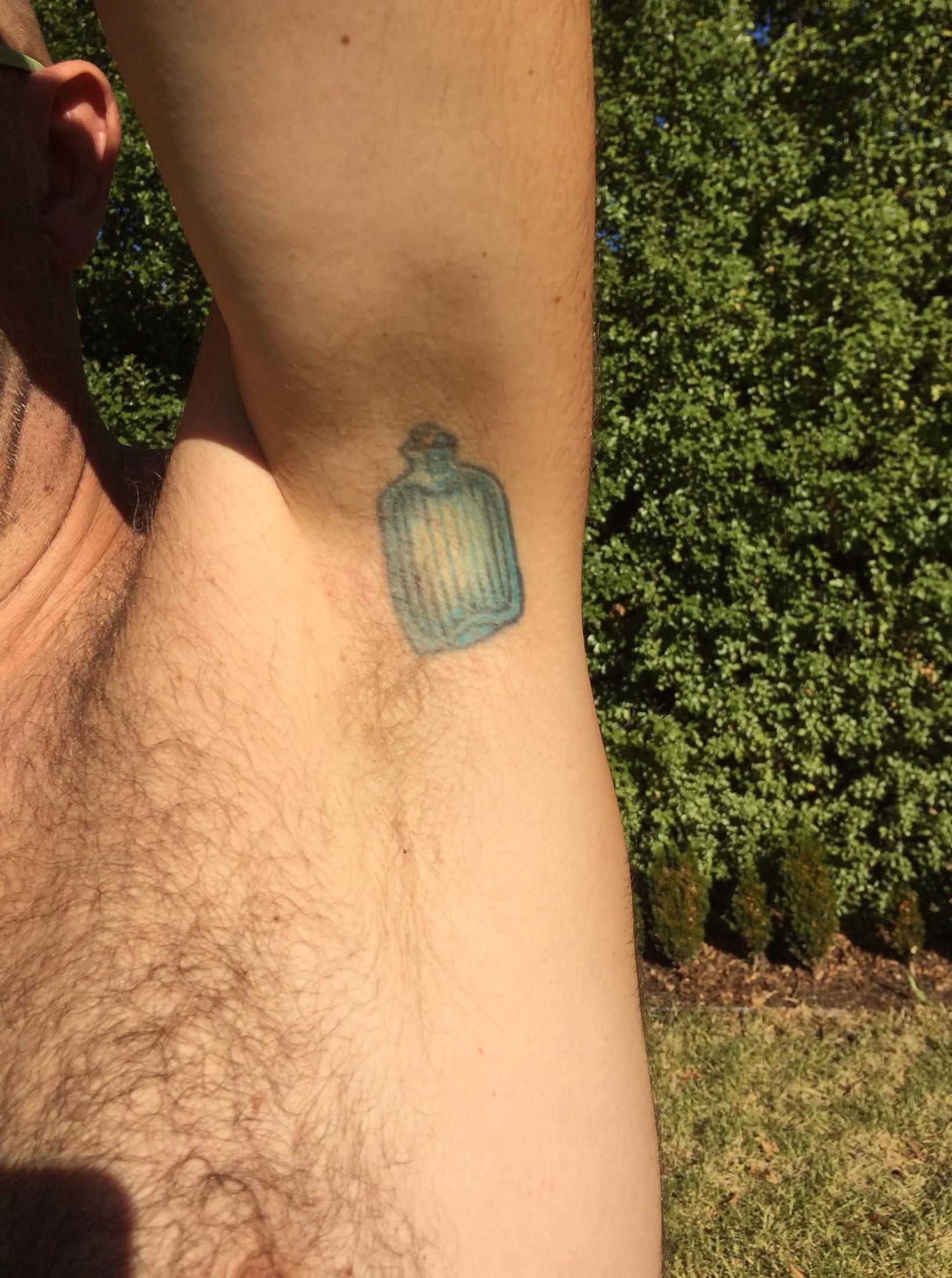 Frank's water bottle tattoo