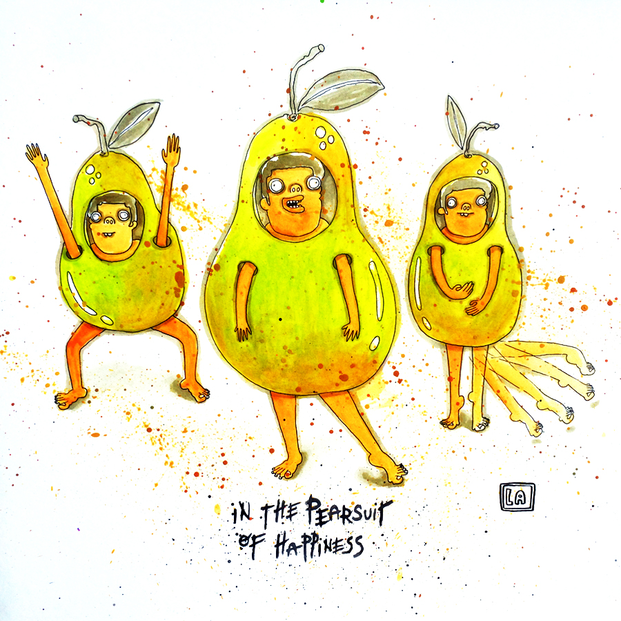 In The Pearsuit of Happiness, Watercolor on Paper, 20'' x 20''