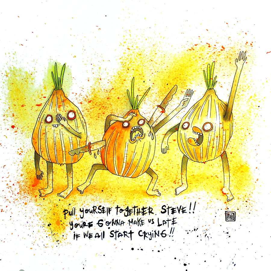 Pull it Together Onion Steve, Watercolor on Paper, 20'' x 20''