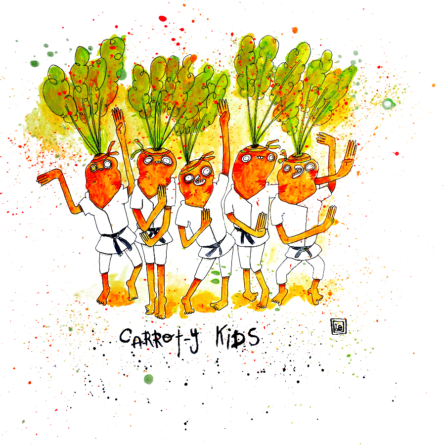 Carrot-y Kids, Watercolor on Paper, 20'' x 20''
