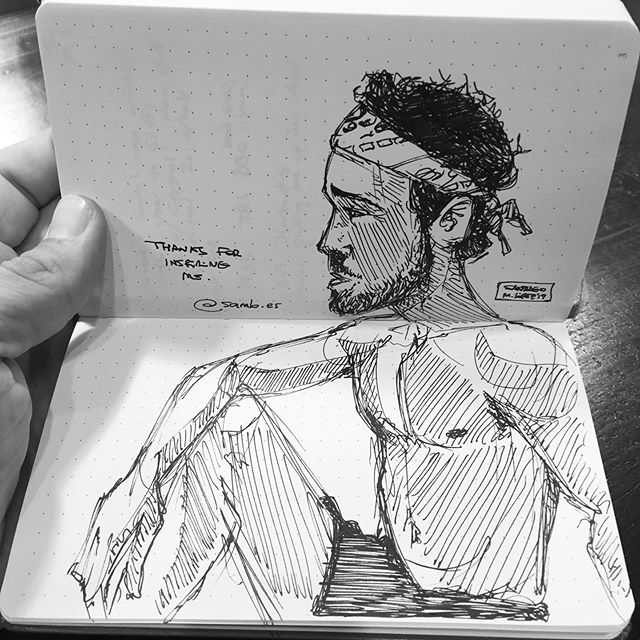 You guys!! @samlo.es did a portrait of me at OMB with just my own notebook and pen! This guy is super talented and very nice as well. I'm honored! 😁