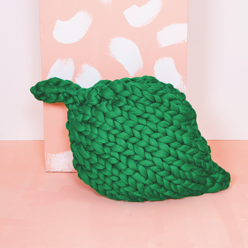 Giant Leaf Cushion by  I Make Knots