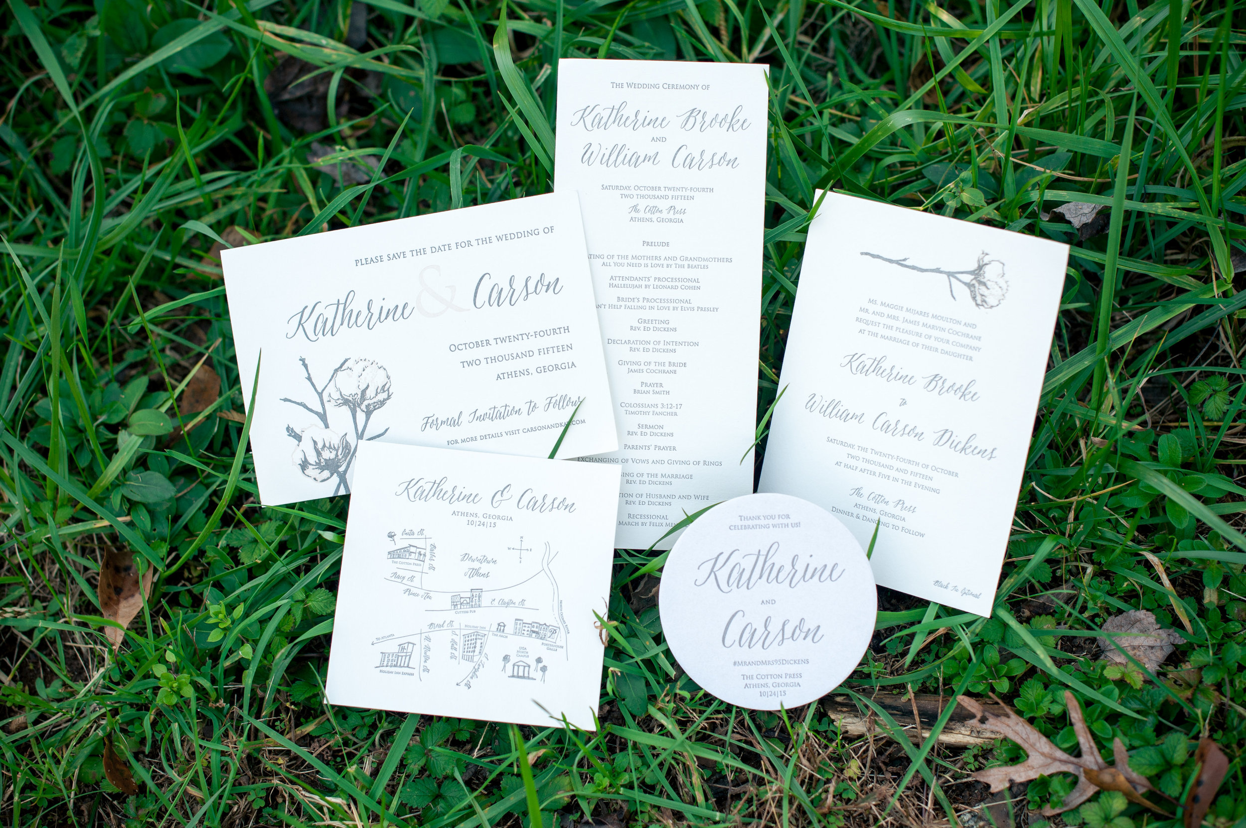 All of the stationary was designed and pressed by the bride and groom, who stayed diligent with some late nights at Smokey Road Press.