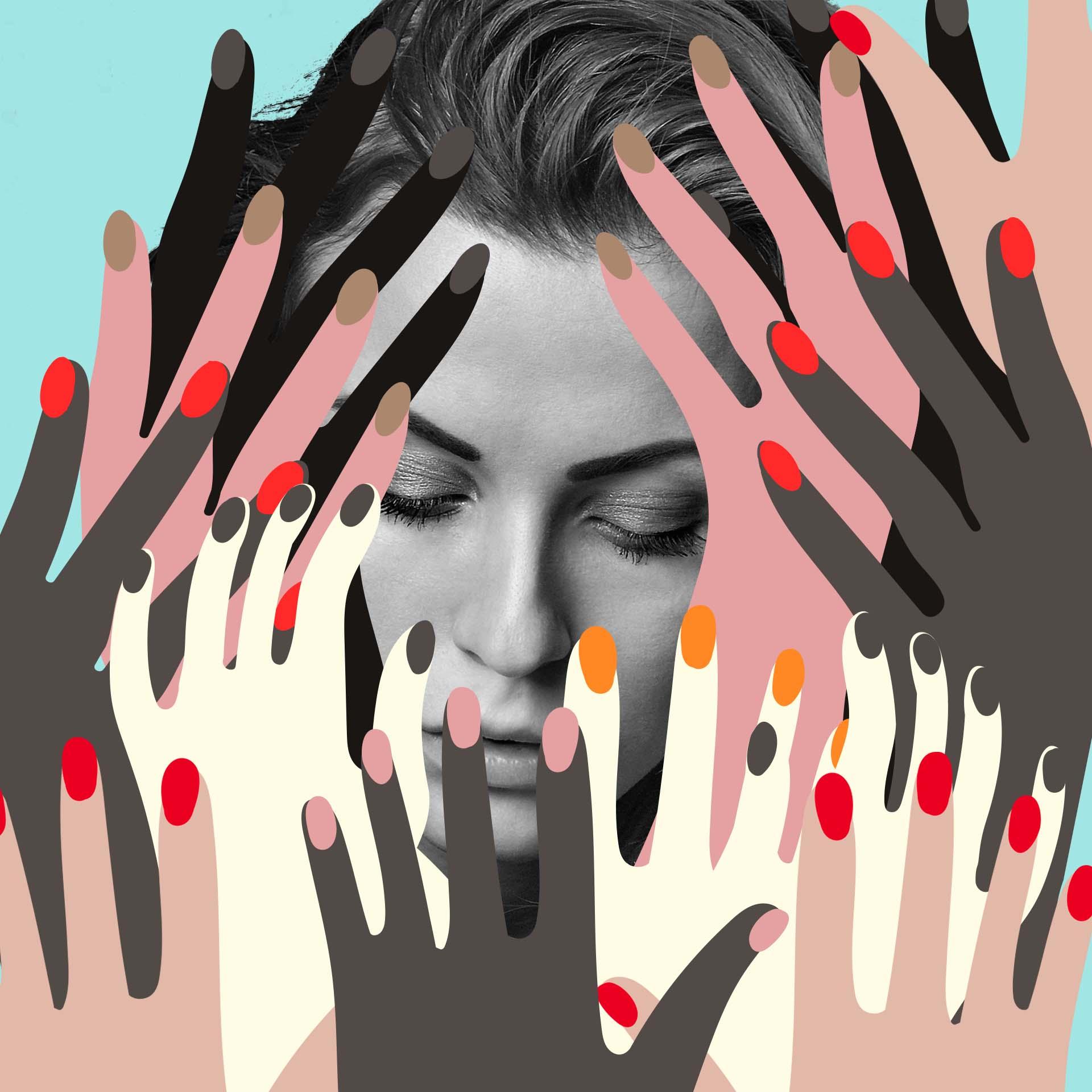 woman face hands black white color fun social media.jpg