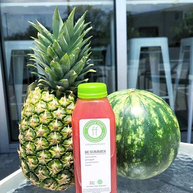 HEY FRESH FRIENDS!!! GUESS WHAT'S BACK IN STORE JUST IN TIME FOR SUMMER!!☀️ Our oh so delicious Be Summer cold pressed juice!🌱 Come grab them while they last! 🍍🍉🍋 . . . . #formulafresh #freshisbest #fresh #coldpressedjuice #juice #smoothies #acaibowls #healthy #happy #summer #besummer #pineapple #lemon #watermelon #foodisfuel
