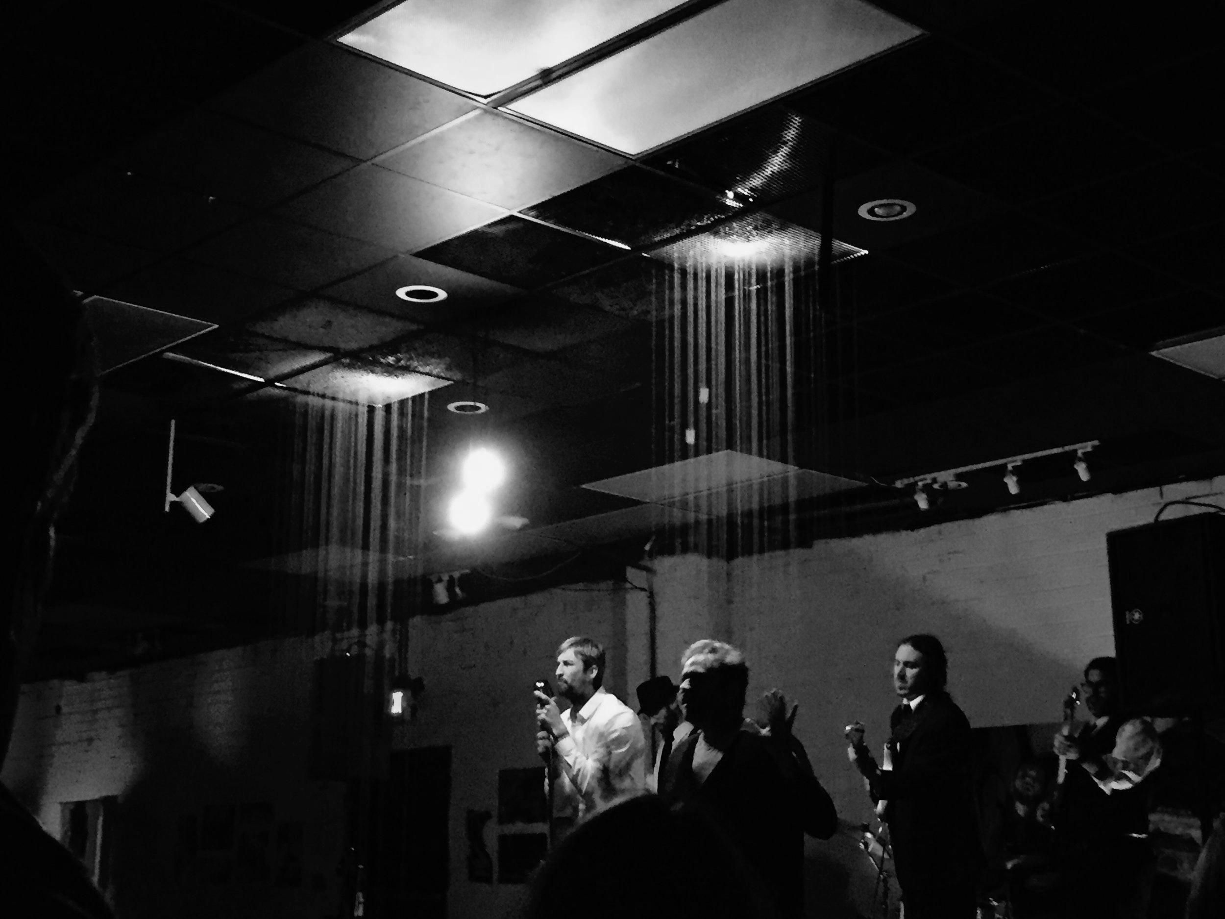 Eric Mullis, Charlie Trexler, Matt Cosper, Troy Conn, Micah Davidson.  Goodyear Arts pop-up art gallery (Charlotte, NC) on 12/2/2017.