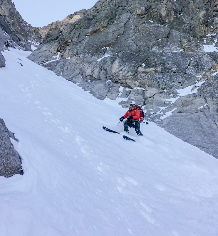 Couloir skiing is just a blast.
