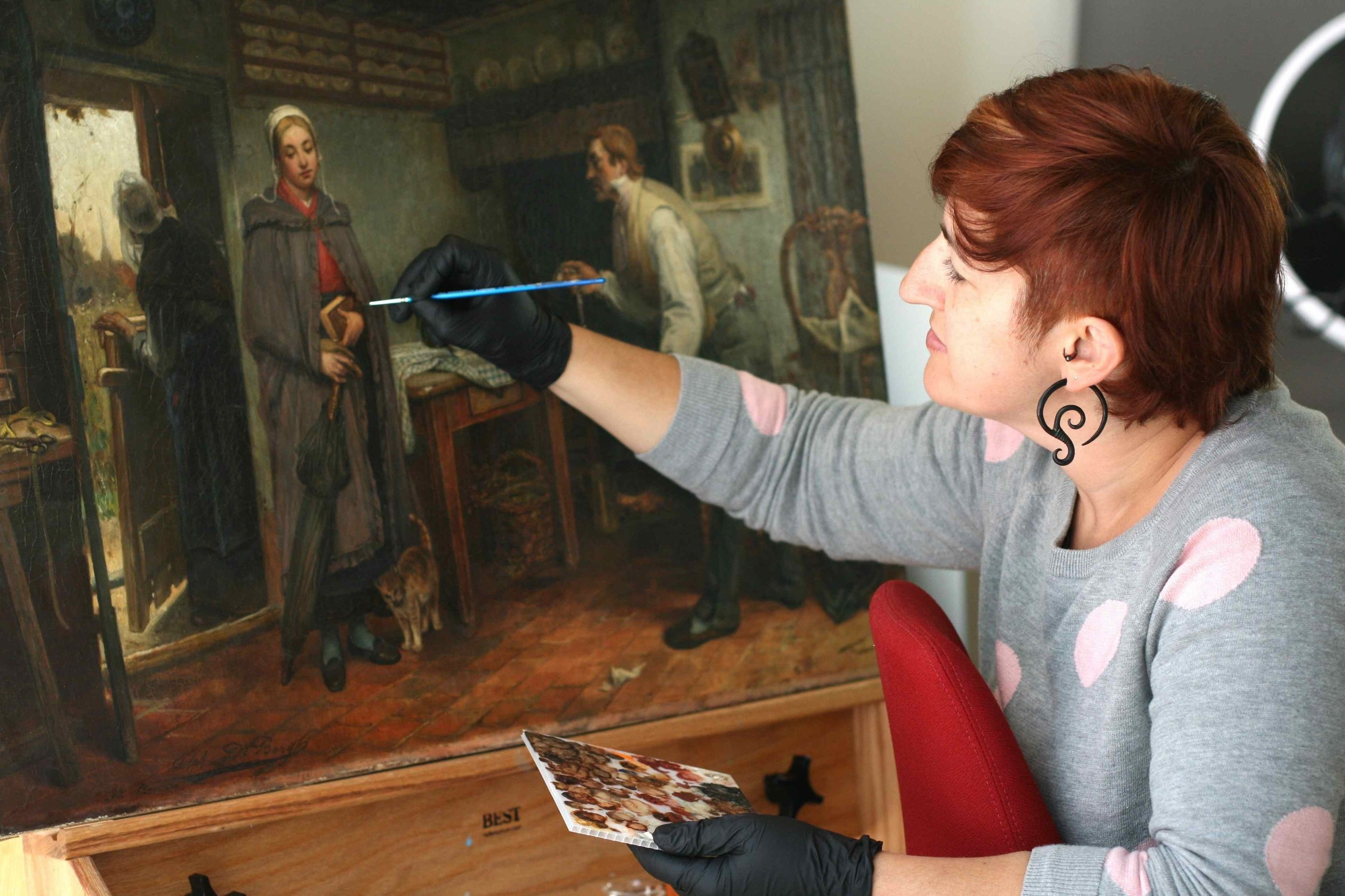 Stephanie Limoges with an 19th Century Flemish Painting