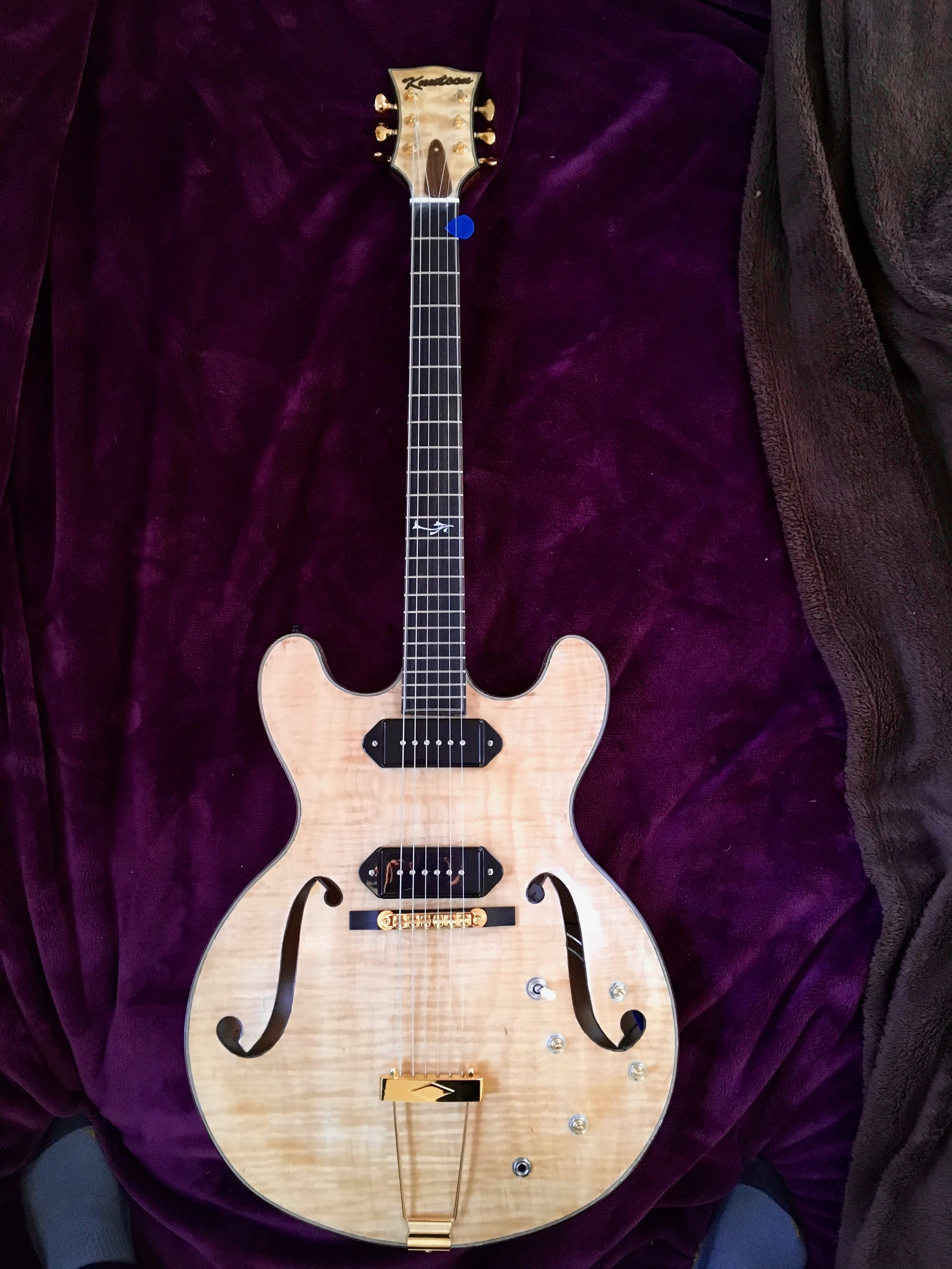 Knutson Hollow Body Thinline with Fralin Noiseless P-90s. Rosewood binding on body and f-holes. Laminate top and back. Mahogany/maple laminate neck. Gotoh Delta tuners. -