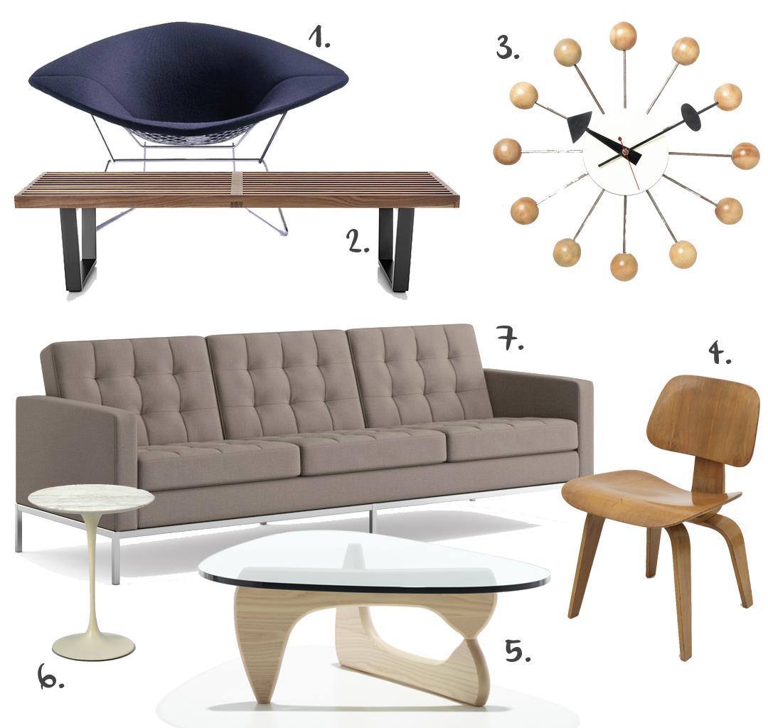 1. Bertoia  Diamond Chair   2. Nelson  Bench   3. Nelson  Clock   4. Eames  Bent Wood Chair   5. Noguchi  Coffee Table   6. Saarinen  Tulip Table   7. Knoll  Sofa