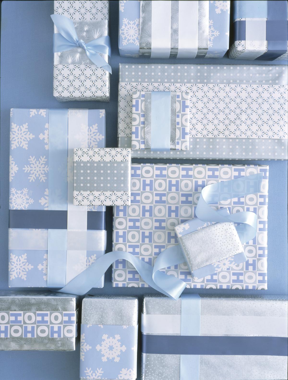 """Martha Stewart Everyday """"HOHOHO"""" giftwrap, 2003. Prop styling: Lorna Aragon & Edward Gallagher."""