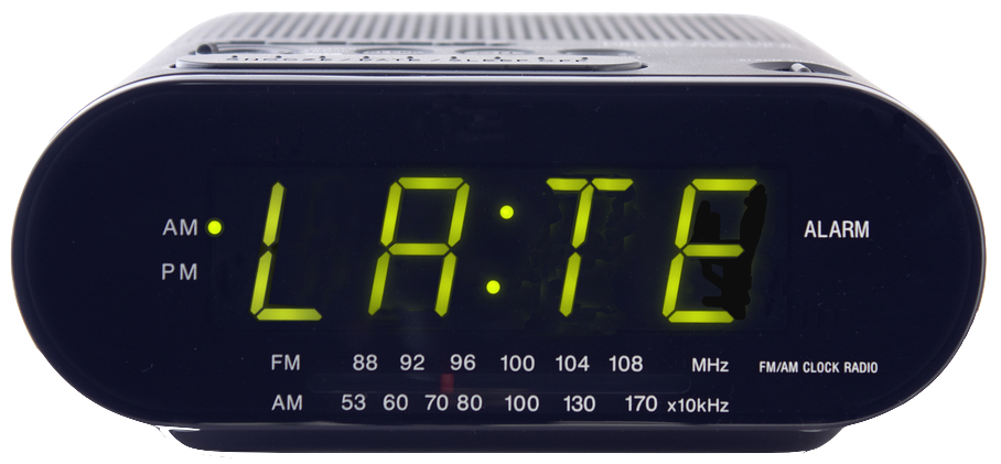 Digital clock with LATE on its face