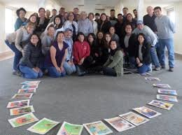 Happy staff at a retreat