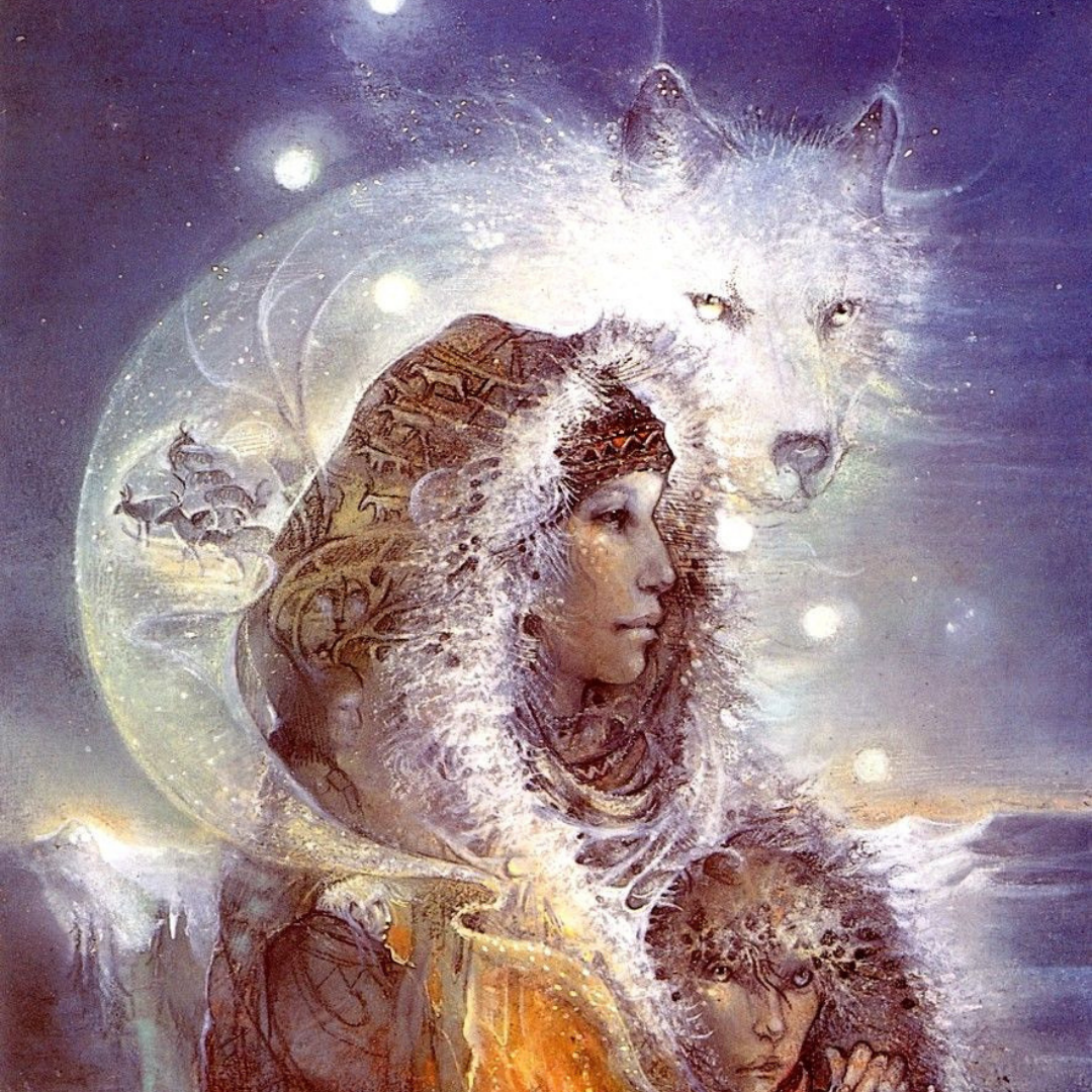 SusanSeddonBoulet woman with wolf.png