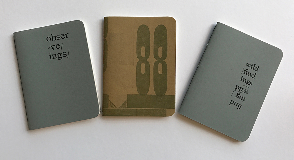 Pamphlet-bound notebooks with covers letterpress-printed from wood type.