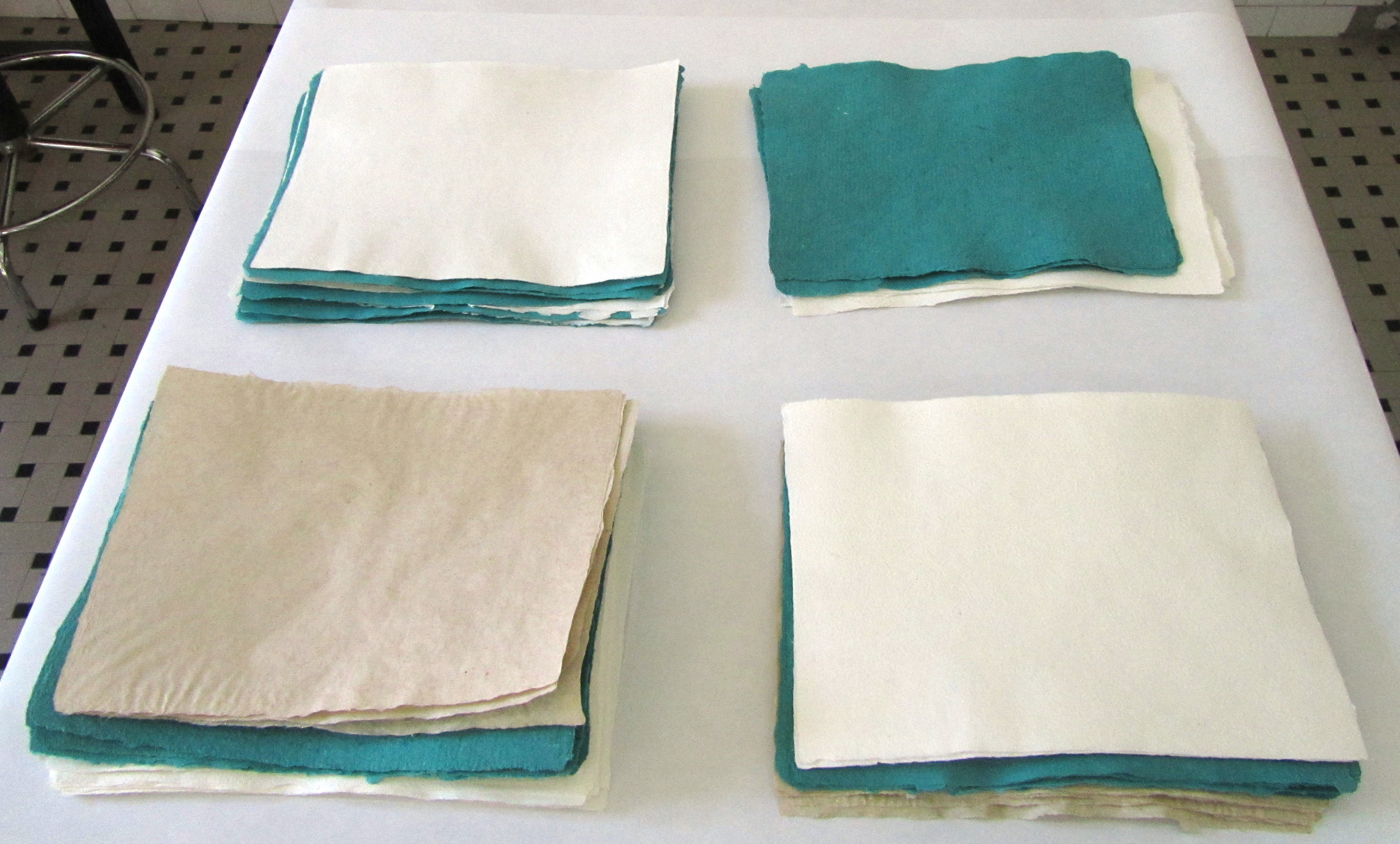Handmade paper from cotton and flax.