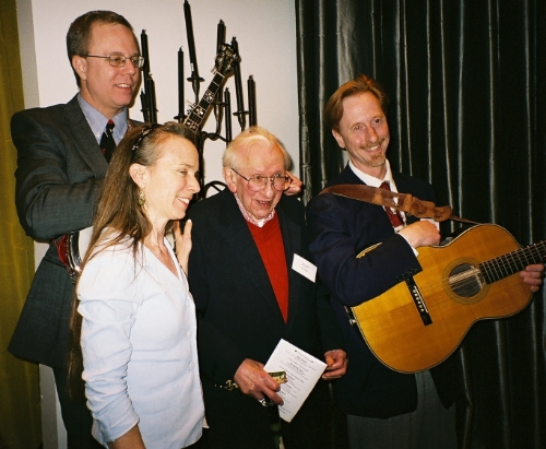 Eric Zorn, Mary Schmich, Studs Terkel, and me at the 2006 Studs Terkel Awards. Eric, Mary, and I had the honor to perform at this event for several years.