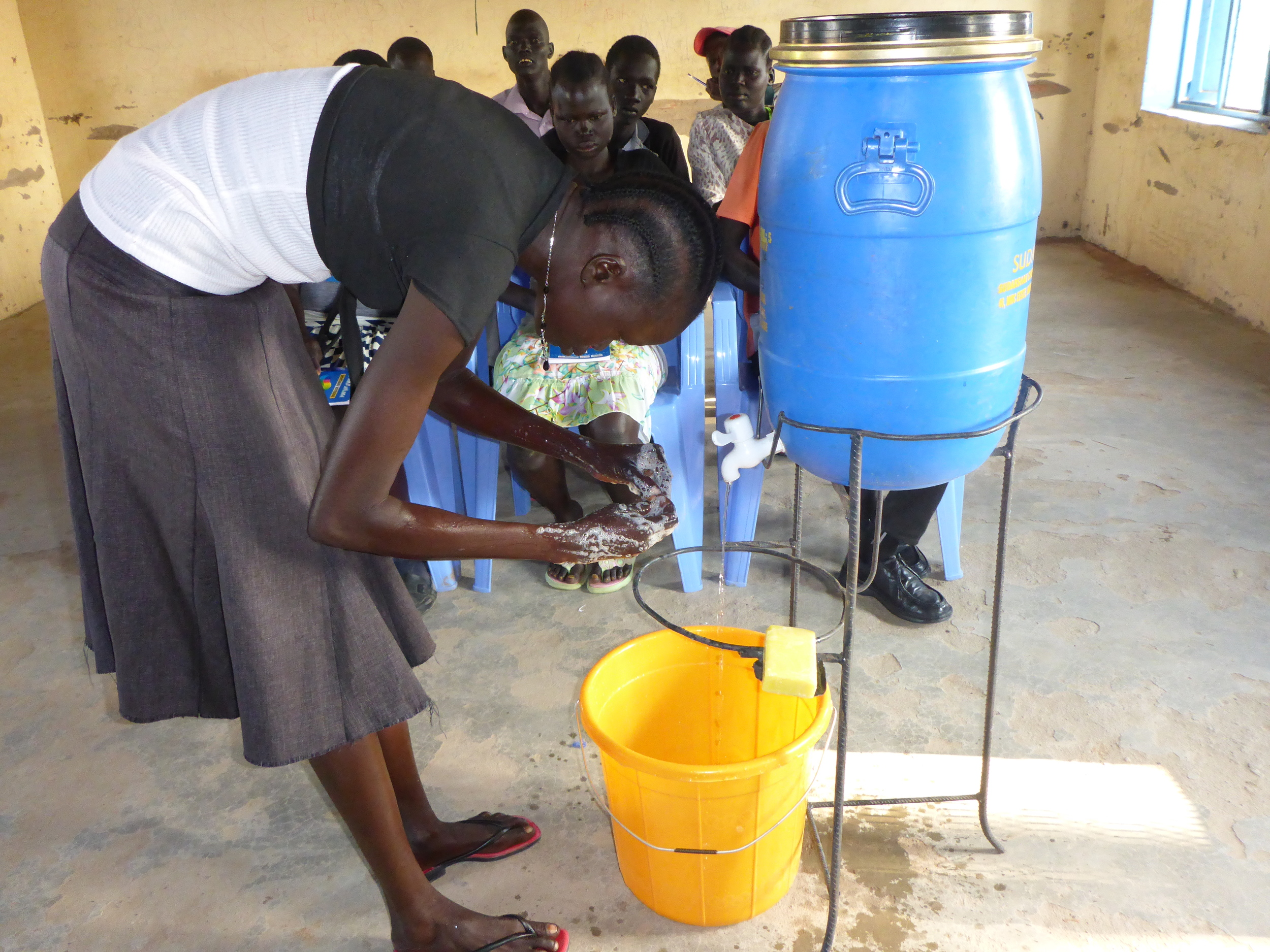 Hygiene education includes hand-washing demonstrations