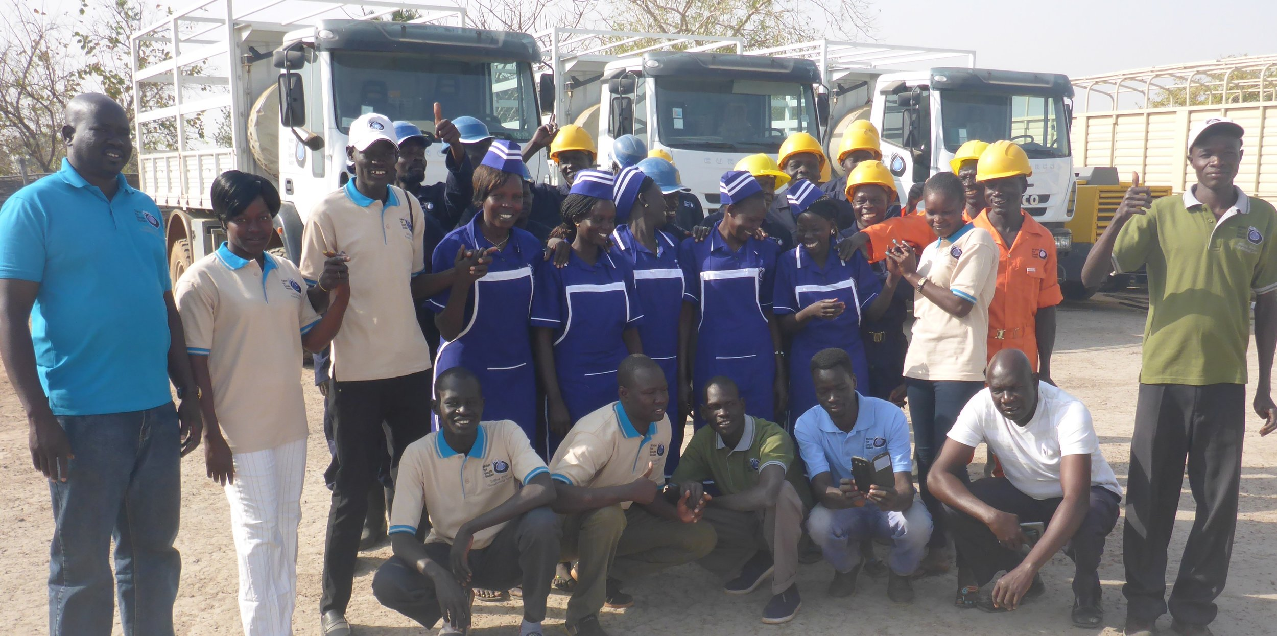 WFSS managers and team members at the WFSS compound in Wau, ready to start the season.